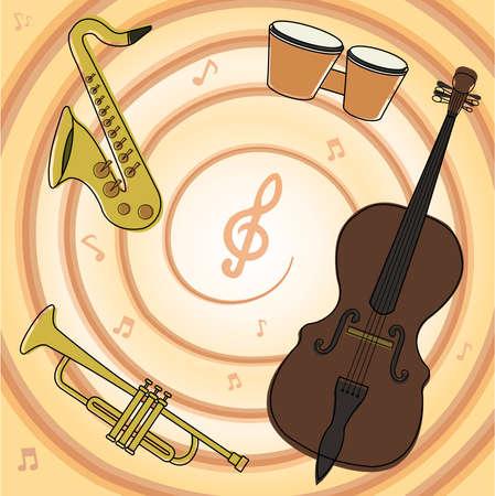 Set of jazz music instruments: saxophone, bongos, contra-bass, trumpet Vector