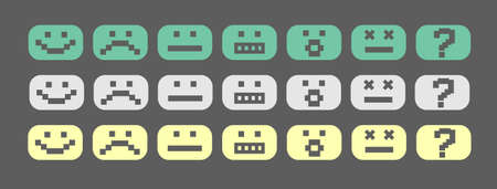 surprise face: Green, gray and yellow pixel style smiles set
