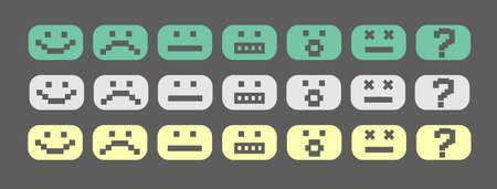 cara triste: Sonrisas estilo pixel verdes, grises y amarillos establecieron