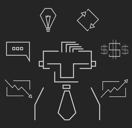 stockbroker: Blackboard rectangular white line art business icons info-graphic