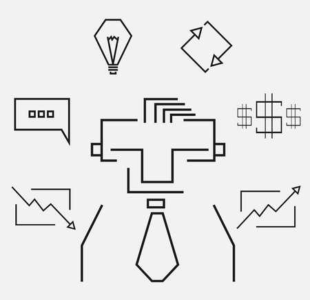 stockbroker: Sketch line art rectangular business icons