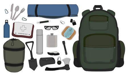 Camping set: carabiner, knife, spoon, fork, mat, backpack, canned food, flashlight, ax, compass, pocket knife, sunglasses, bracelet, first aid, shovel, sleeping bag, bottle, thermos, lighter. Color Vector