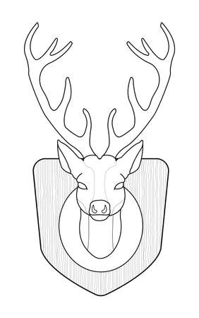 taxidermy: Hunting trophy. Stuffed taxidermy deer head with big antlers in wood shield. Line art. Illustration isolated on white