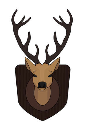 taxidermy: Hunting trophy. Stuffed taxidermy deer head with big antlers in wood shield. Color illustration isolated on white