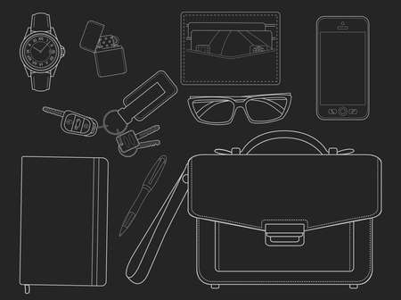 moleskine: EDC set. Every day carry businessman items collection: watches, lighter, wallet, sunglasses, mobile phone, bag, pen, notebook, house keys, car keys. Isolated on white. Chalk lines on blackboard Illustration