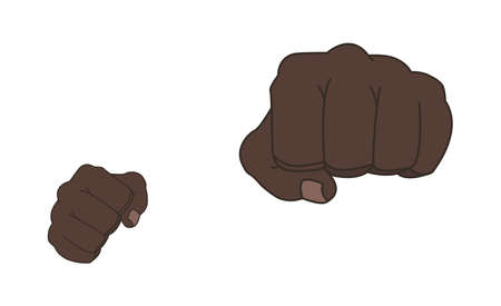 stance: Clenched african american man fists in fight stance. Ready to fight. Front punch. Color illustration isolated on white
