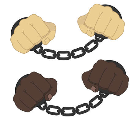 Male hands in steel handcuffs comics style illustration isolated on white Ilustração