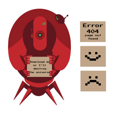 alien robot: Large red alien robot with 4 arms and spider legs holding signs. Error 404, happy smile, sad smile Illustration