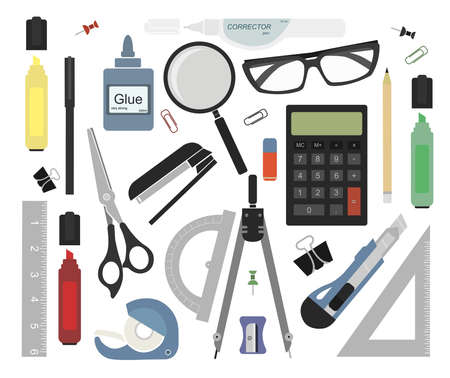 supplies: Set of stationery tools: marker, paper clip, pen, binder, clip, ruler, glue, zoom, scissors, scotch tape, stapler, corrector, glasses, pencil, calculator, eraser, knife, compasses, protractor