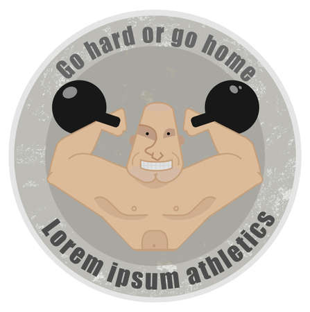 twirled: Stone athletic emblem with huge, bald strongman holding kettlebell