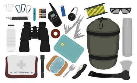 Set of survival camping equipment: carabiner, whistle, batteries, radio set, lighter, compass,  rope, sunglasses, bracelet, bottle, binoculars, tape, multi tool, sleeping bag, thermos, first aid kit