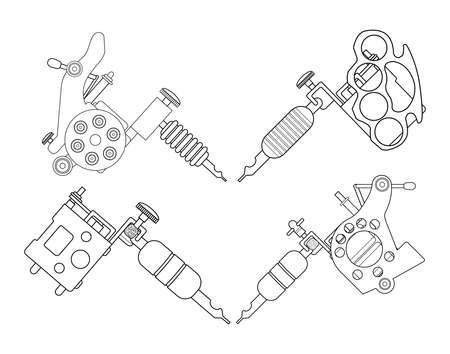 knuckle: Set of 4 different style realistic tattoo machines icons. Revolver tattoo machine, knuckle duster tattoo gun. Line-art illustration isolated on white