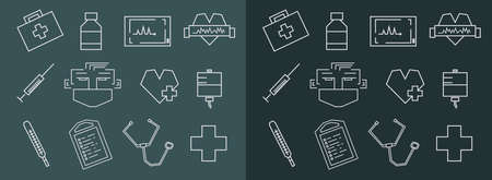 Straight line rectangular chalk vector medical icons set Vector