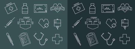 straight line: Straight line rectangular chalk vector medical icons set