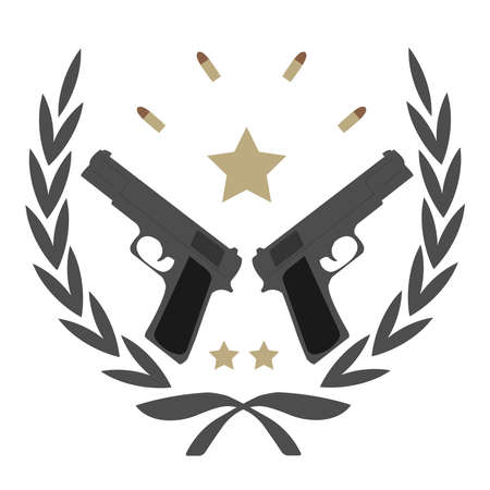 Color, no outline,  icon isolated on white with 2 pistols, bullets and stars in laurel wreath frame Vector