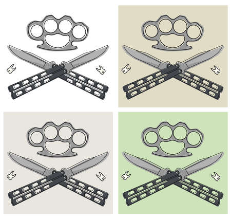 thug: Crossed butterfly knifes with steel brass knuckle and broken teeth emblem in different backgrounds