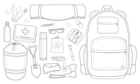 pocket knife: Camping set: carabiner, knife, spoon, fork, mat, backpack, lighter, canned food, flashlight, ax, compass, pocket knife, flask, sunglasses, bracelet, first aid, shovel, sleeping bag, bottle Illustration