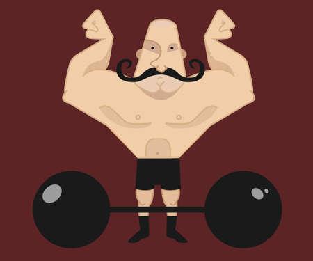 twirled: Enorme, forte, atleta del circo calvo con baffi twirled scuri mostrando la sua forza