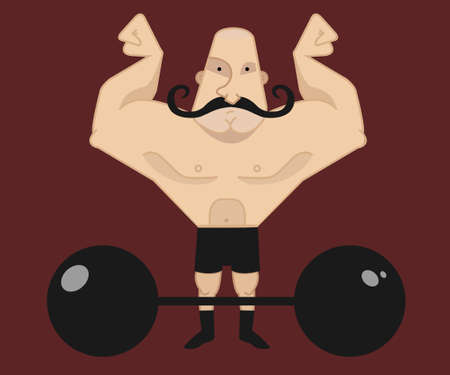 twirled: Huge, strong, bald circus athlete with dark twirled mustaches showing of his strength