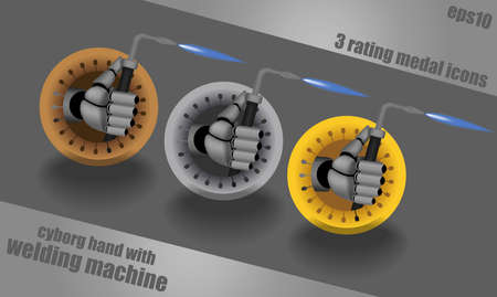 Bronze, silver, gold, vector rating dropping shadows icons on steel background with cyborg hand holding welding machine Vector