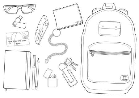 EDC set. Every day carry man items collection: glasses, usb, wallet, backpack, credit card, keys,  pencil, pen, lighter, pocket knife. Contour lines isolated on white Vector