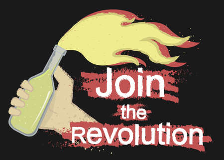 Grunge scratched protest icon with hand holding molotov cocktail and sign: Join the revolution isolated on black Illustration