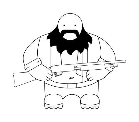 Fat bald round redneck in shirt with suspenders, jeans, and big boots. Holding shotgun. Black beard. Line-art illustration isolated on white Vector