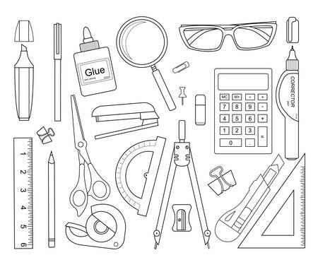 correttore: Set di strumenti di cancelleria delinea: marcatore, graffetta, penna, legante, clip, righello, colla, zoom, forbici, cucitrice, correttore, occhiali, matita, calcolatrice, gomma, coltello, bussole, goniometro Vettoriali