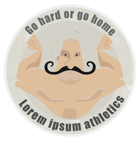 twirled: Go hard or go home, stone athletic emblem with huge, bold, mustached bodybuilder torso