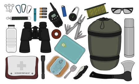 food container: Conjunto de supervivencia equipo de camping: linterna, alimentos enlatados, tenedor, envase de alimento, cuchillo de bolsillo, hacha, mosquet�n, silbato, bater�as, equipo de radio, m�s ligero, br�jula, cuerda, gafas de sol, pulsera, botella Vectores
