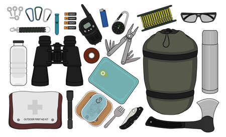 Set of survival camping equipment: flashlight, canned food, fork, food container, pocket knife, ax, carabiner, whistle, batteries, radio set, lighter, compass,  rope, sunglasses, bracelet, bottle