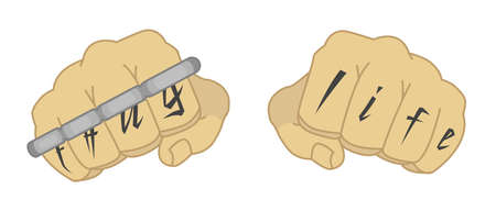 knuckle: Clenched man fists with Thug life tattoo holding brass knuckles