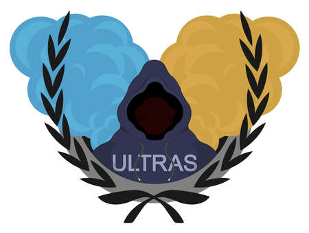 ultras: Laurel wreath, ultras, football fan icon. Danger man in hoodie standing in front of blue and yellow smoke clouds