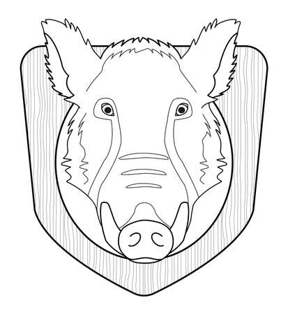 taxidermy: Hunting trophy. Stuffed taxidermy wild boar head with big tusks in wood shield. Line-art illustration isolated on white