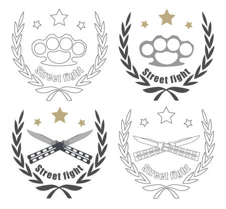 Color, and line art icon isolated on white with 2 crossed knifes, brass knuckle and stars in laurel wreath frame Vector
