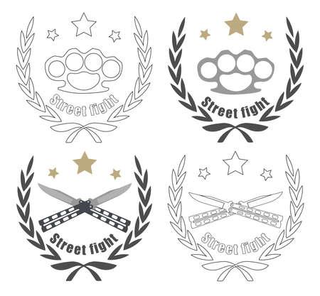 rama de olivo: Icono de color, y la l�nea arte aislado en blanco con 2 cuchillos, nudillos de bronce y estrellas cruzaron en el marco de la corona de laurel
