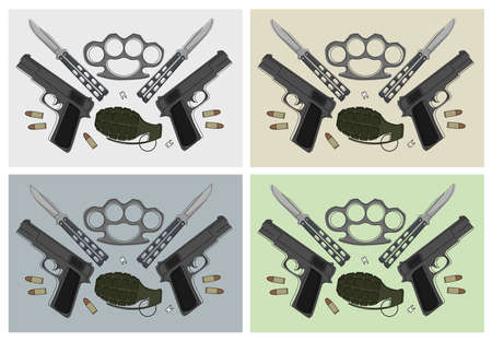 Emblem with pistols, grenade, brass knuckle, butterfly knifes, broken teeth and bullets in different backgrounds Vector