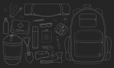 pocket flashlight: Camping set: carabiner, knife, spoon, fork, mat, backpack, lighter, canned food, flashlight, ax, compass, pocket knife, flask, sunglasses, bracelet, first aid, shovel, sleeping bag, bottle Illustration