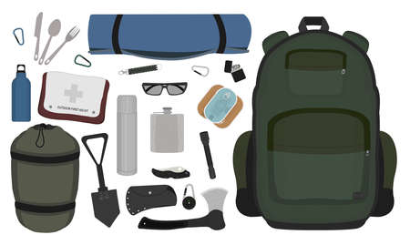 pocket flashlight: Camping set: carabiner, knife, spoon, fork, mat, backpack, canned food, flashlight, ax, compass, pocket knife, flask, sunglasses, bracelet, first aid, shovel, sleeping bag, bottle. No outlines
