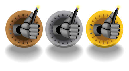 Bronze, silver, gold, vector rating icons on white background with cyborg hand holding cable Vector