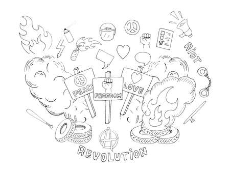 riot: Doodle sketch art. Protest symbols: flames, heart, anarchy, peace, fist, vote, speakerphone, smoke, banners, tires, shackles, baton, baseball bat, police helmet, freedom, revolution, riot. Line art