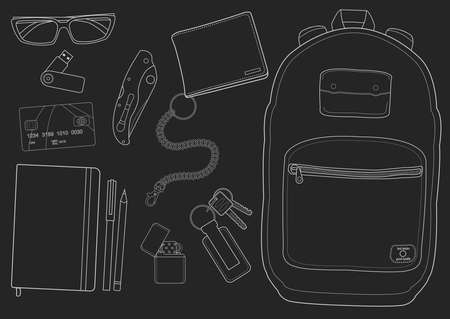 pocket knife: EDC set. Every day carry man items collection: glasses, usb, wallet, backpack, credit card, keys, pencil, pen, lighter, pocket knife. Chalk contour lines on blackboard
