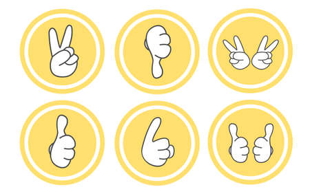 thump up: Gesture icon set 6 type of hands isolated on white Illustration