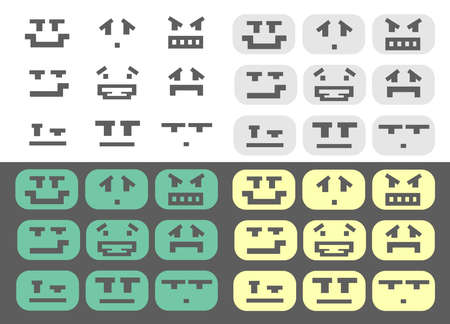 mistrust: Green, gray, yellow and isolated pixel style different emotions smiles set