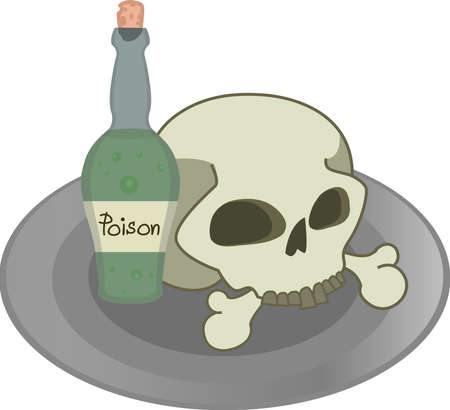 poison bottle: Skull, green poison bottle on a plate. Vector illustration