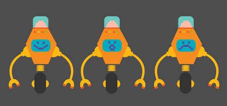 wheel guard: Smiling, surprised and sad, set of flat design robots