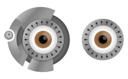 cyborg: Brown ojos cyborg en la ilustraci�n llanta de acero aislados en blanco