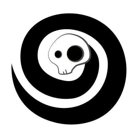 Spiral skeleton black spirit isolated on white Vector