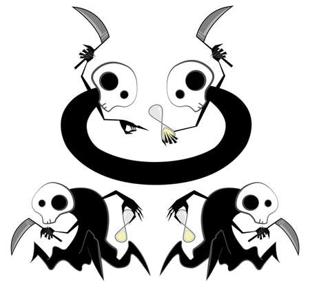angel cemetery: Spooky reapers counting time illustration isolated on white