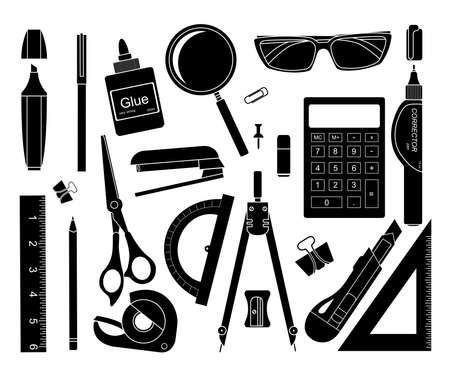 corrector: Set of black stationery tools: marker, paper clip, pen, binder, clip, ruler, glue, zoom, scissors,  stapler, corrector, glasses, pencil, calculator, eraser, knife, compasses, protractor